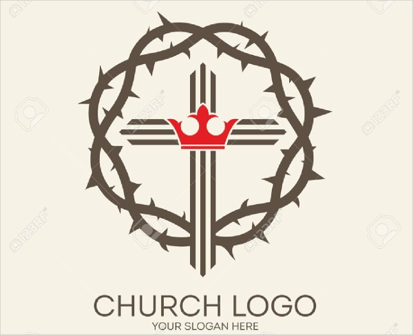 thorn crown christianity church logo design