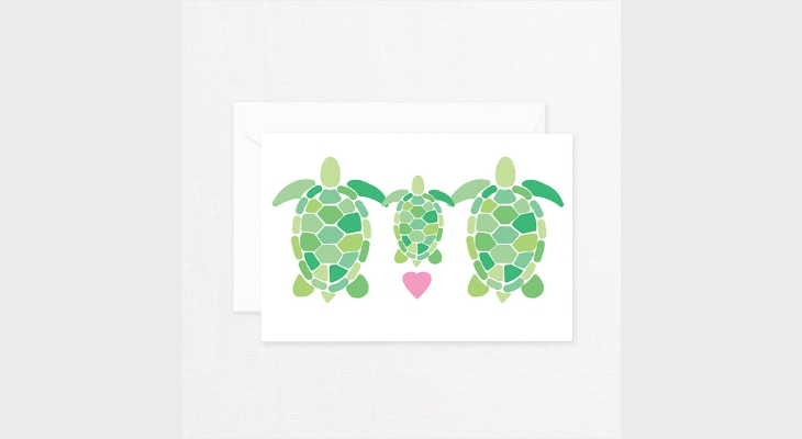 Turtle Family Greeting Card Design