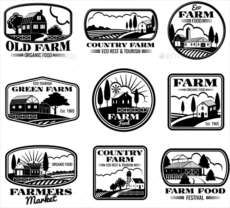 vintage achromatic farm vector logo designs