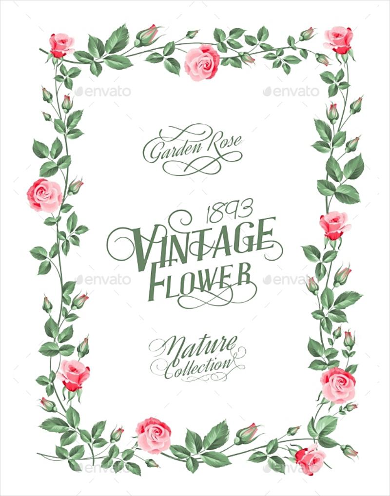 vintage garden rose border marriage invitation