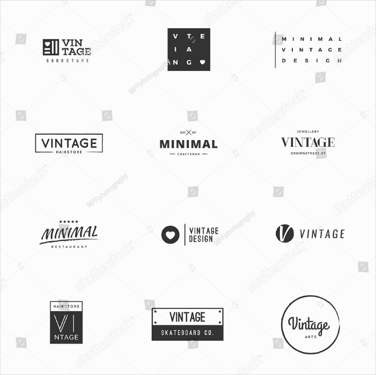 Vintage Typographic Minimal Logo Designs