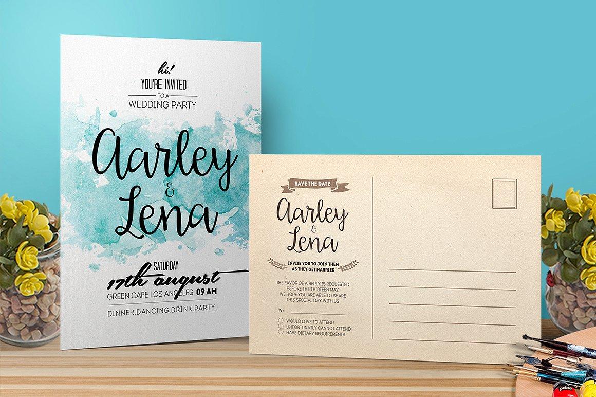 watercolor marriage invitation