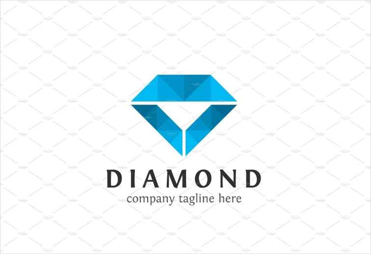 Blue Minimalist Triangles Diamond Logo Design