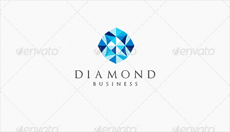 Blue Rounded Diamond Logo Design