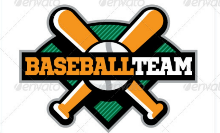 Colorful Baseball Team Flat Logo Design