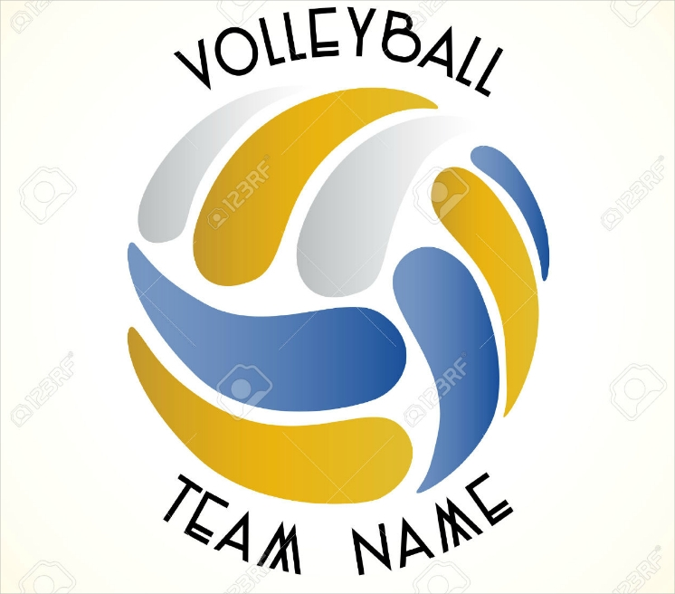 Flat Hollow Volleyball Team Logo Design