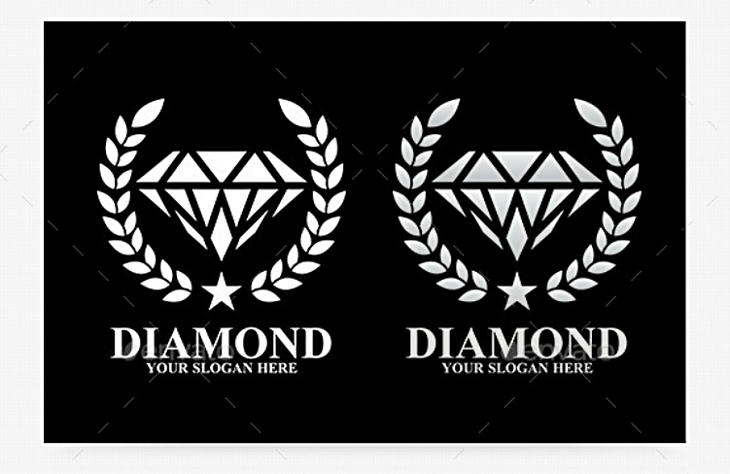 Flat Olive Wreath Diamond Logo Design