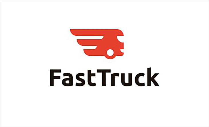 Flat Simple Fast Truck Logo Design