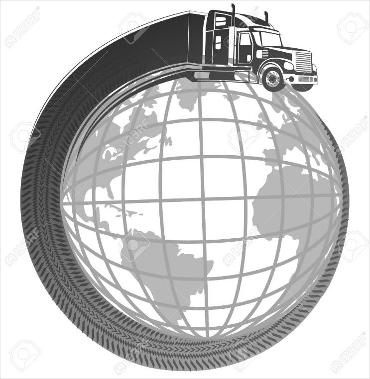 global delivery truck symbolic logo design