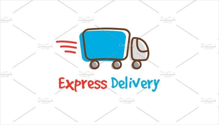Hand Drawn Express Delivery Truck Logo