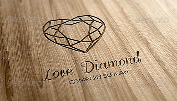 Heart Shape Love Diamond Logo Design
