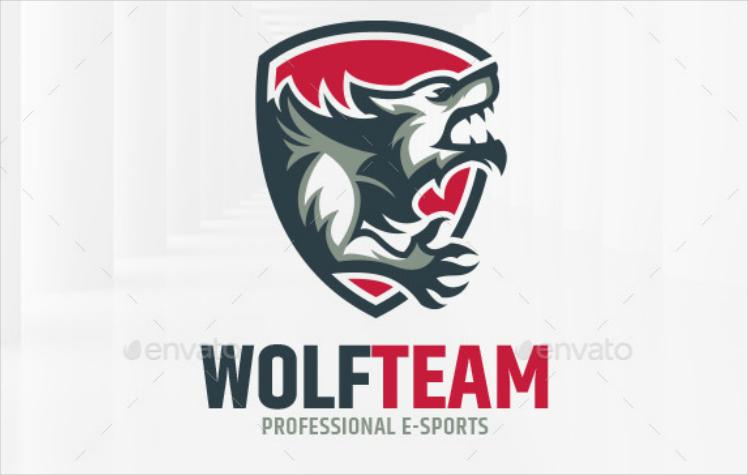 howling wolf team e sport logo design