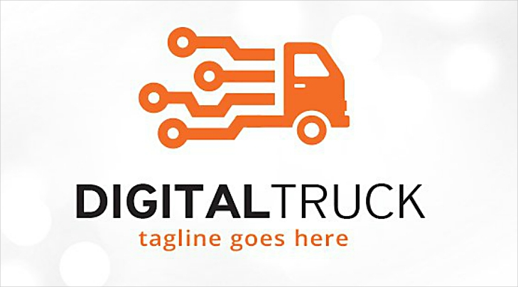 Minimalist Digital Truck Logo Design