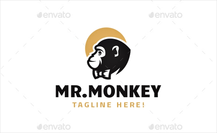 mister monkey with tie logo design