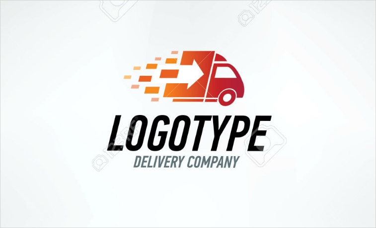 Moving Forward Delivery Truck Vector Logo