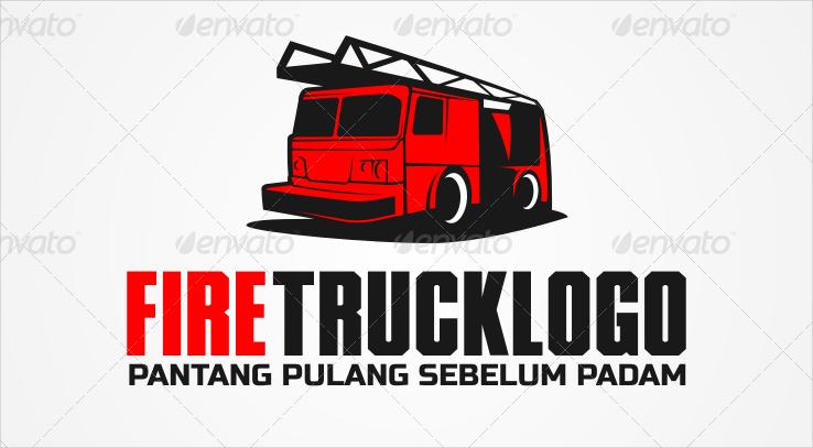 red fire truck vector logo design