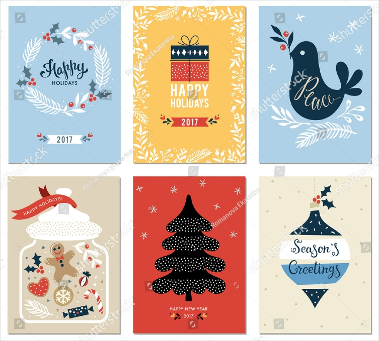 Set of Flat Illustrations Holiday Card Designs