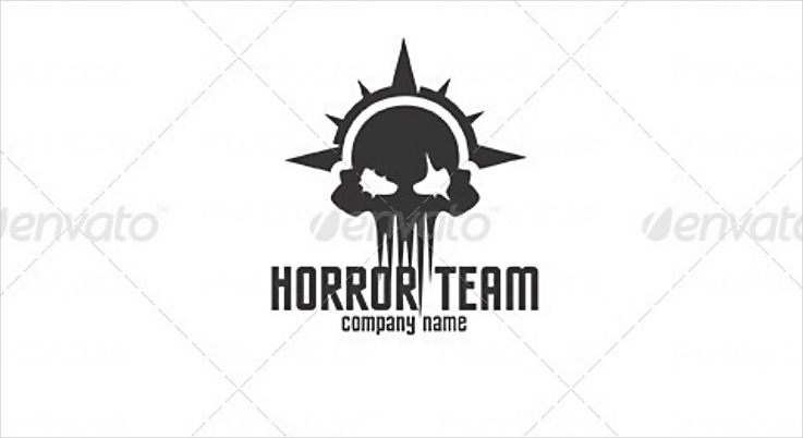 Spiked Skull Horror Team Logo Design