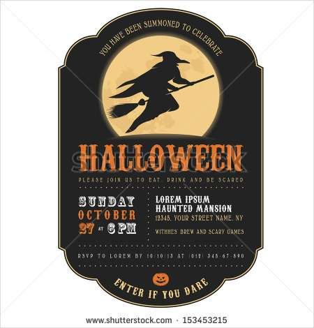 witch silhouette halloween party invitation design1