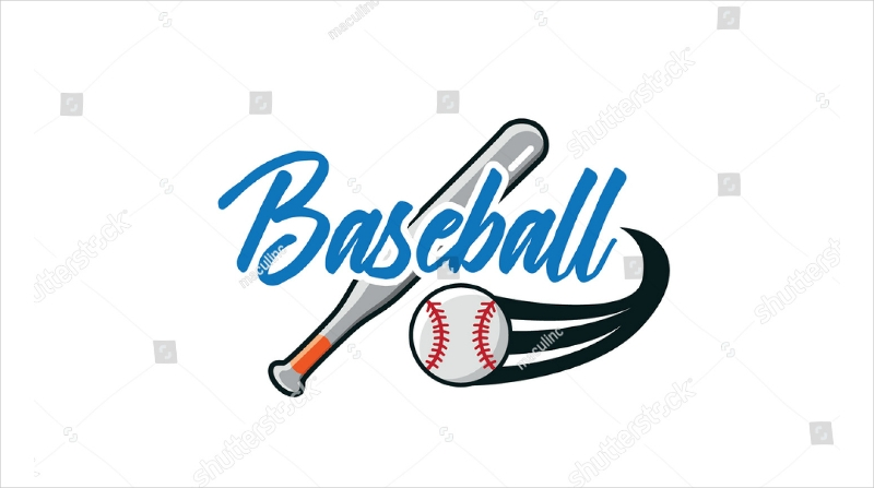 baseball bat and ball text logo design