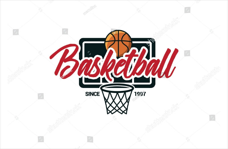 basketball loop and ball text logo design