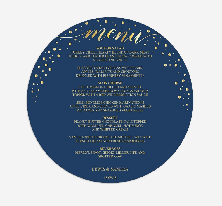 Beautiful Blue Round Dinner Menu Design