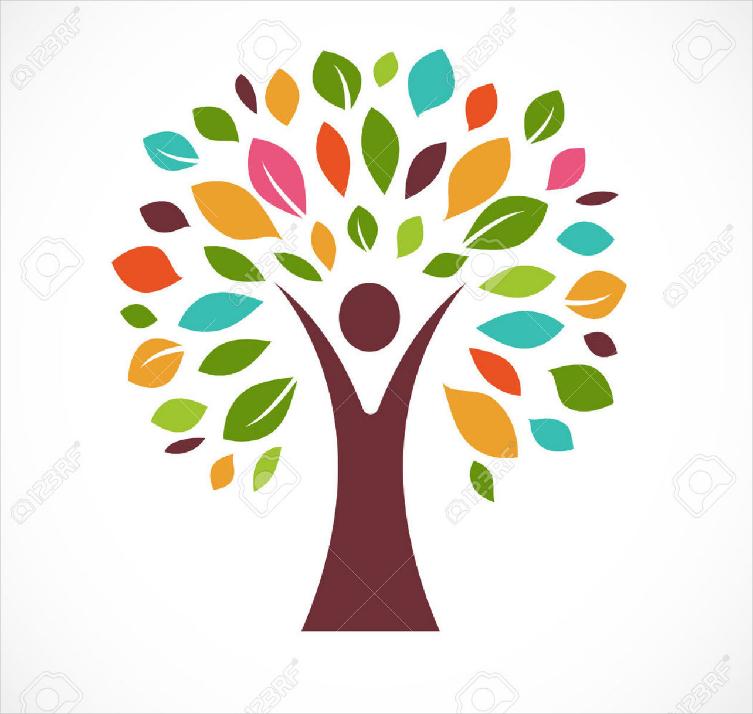 beautiful tree colorful logo design