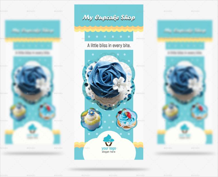Blue Cupcake Rack Card Design