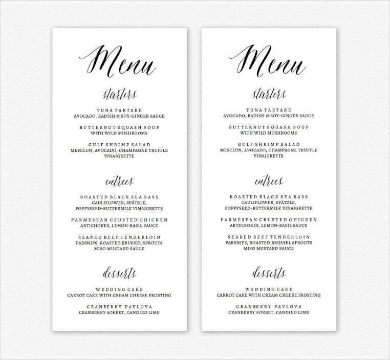 Clean White Typographic Dinner Menu Design