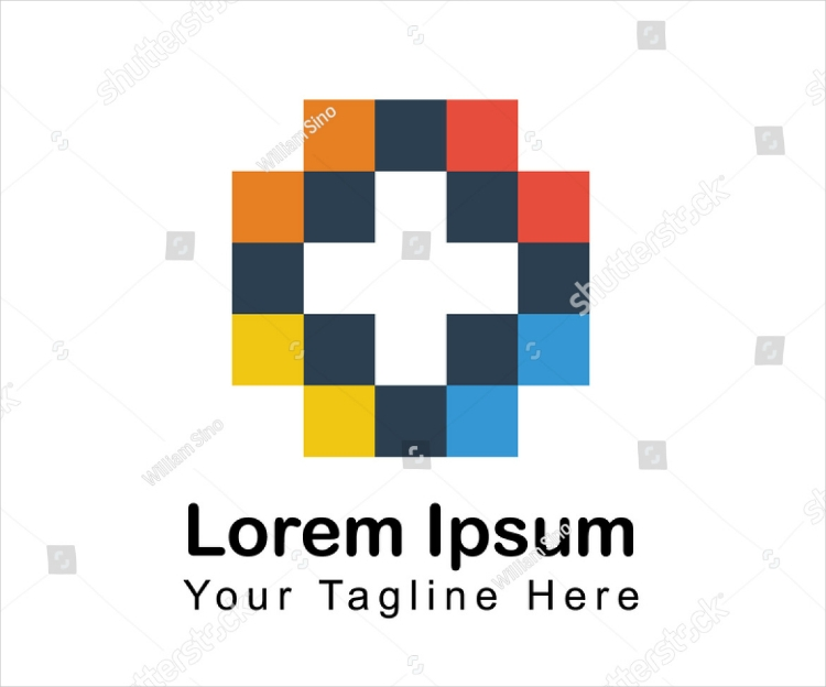 colored pixel blocks flat logo design