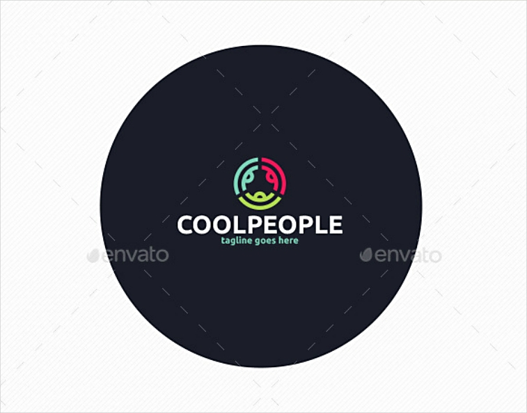colorful cool people round logo design
