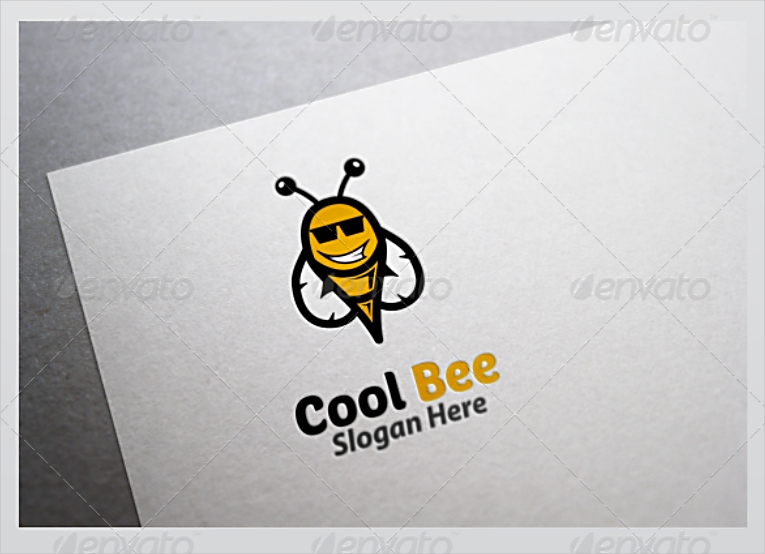 cool smiling bee logo design