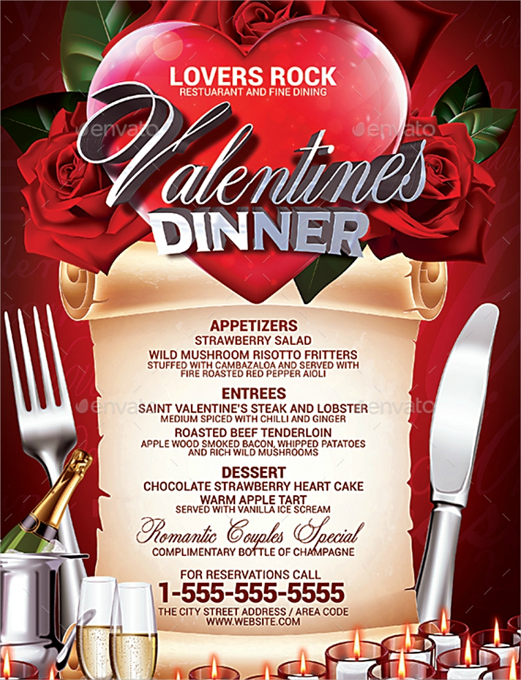 Extravagant Valentine's Dinner Menu Design