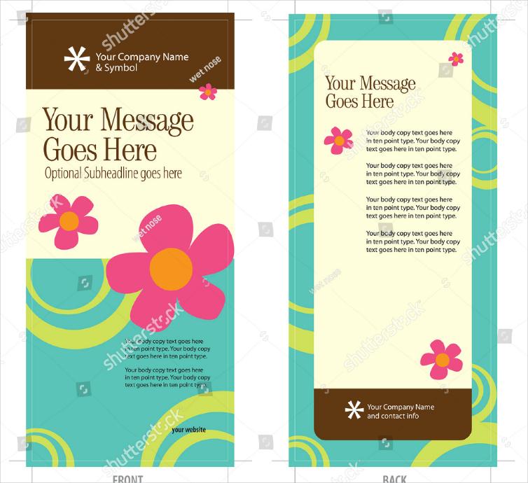 Flat Flower Illustrations Rack Card Design