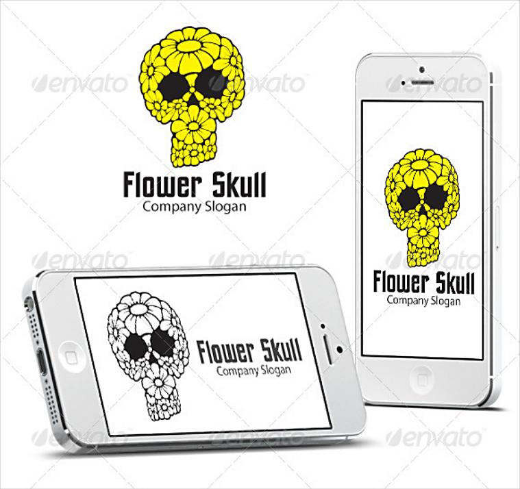 Floral Skull Cool Company Logo Design