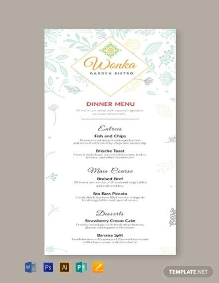 free dinner menu template