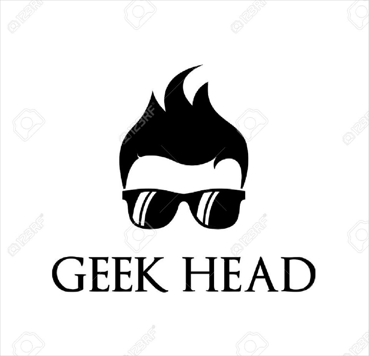 geek head cool logo design
