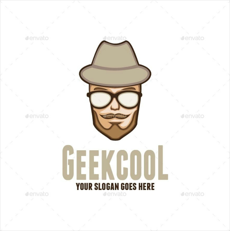 geeky portrait cool logo design