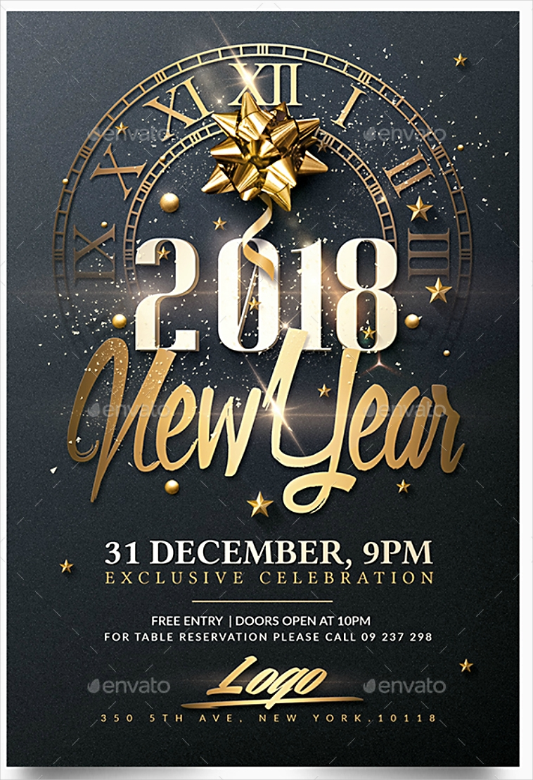 Golden Clock New Year Invitation Design in PSD