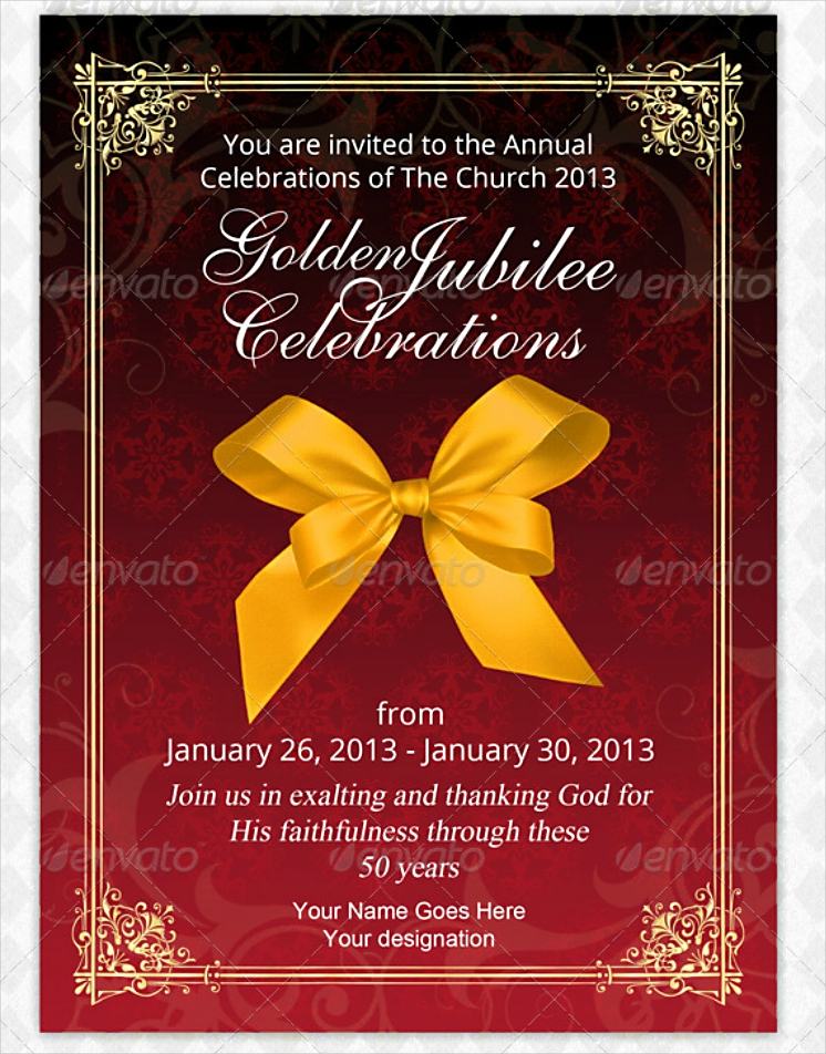 Golden Ribbon Jubilee Celebration Invitation Design in PSD