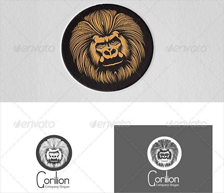 Gorilla Lion Hybrid Cool Emblem Logo Design