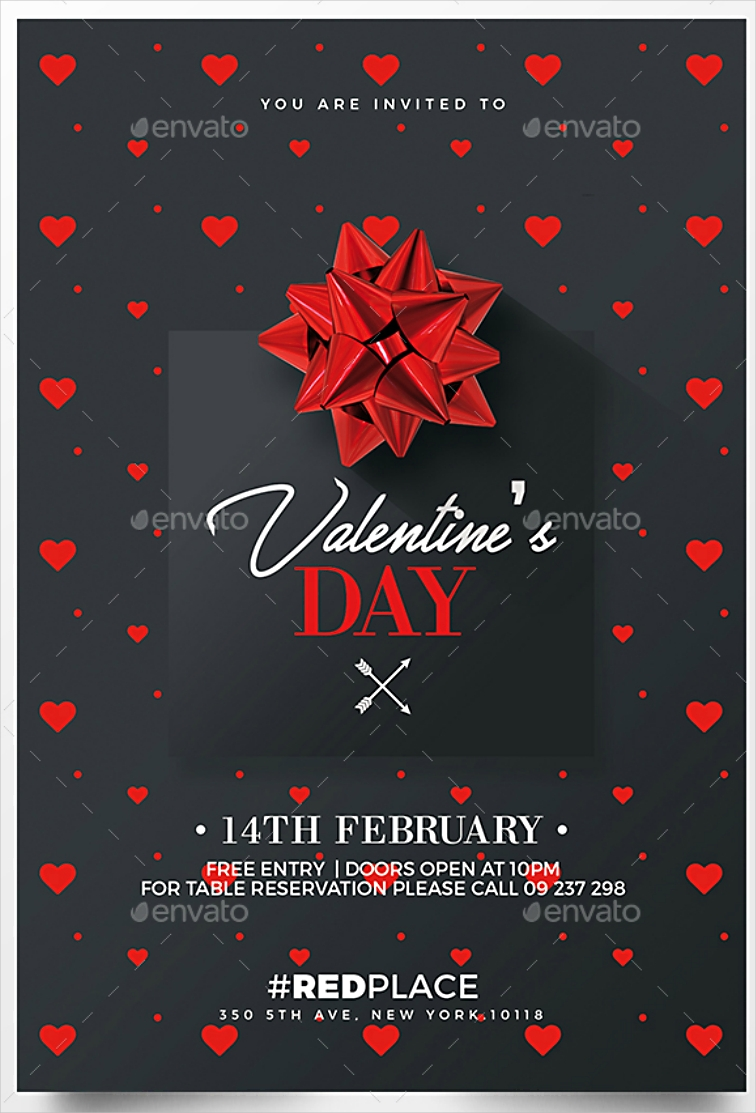 Heart Pattern Valentine's Day Invitation Design in PSD