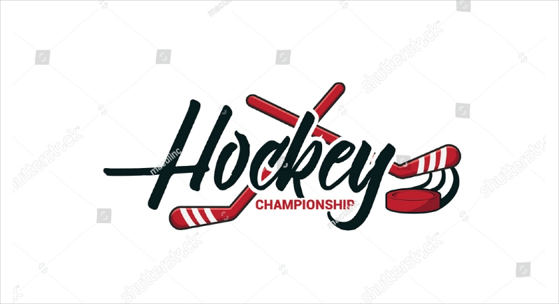 hockey championship text logo design