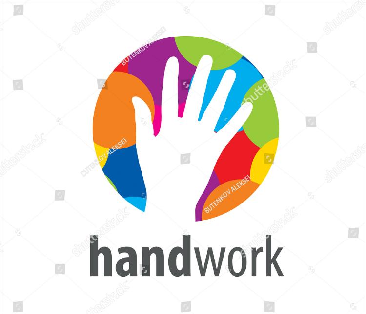 hollow hand print colorful logo design