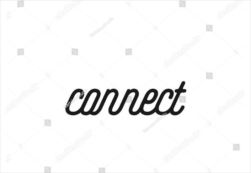 minimalist connect text logo design