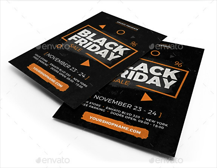 modern orange black friday sale flyer design