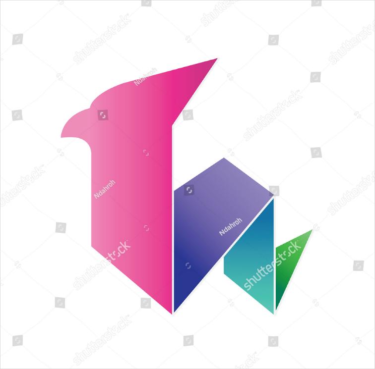 origami bird colorful logo design