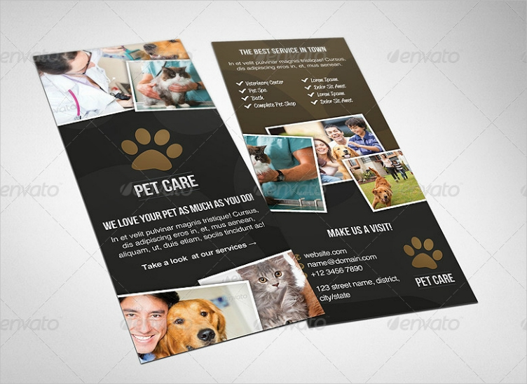 Paw Print Pet Care Rack Card Design