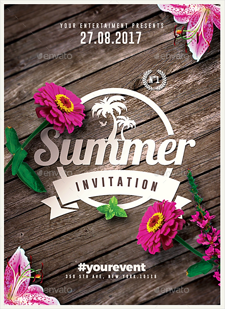 Photorealistic Summer Event Invitation Design in PSD