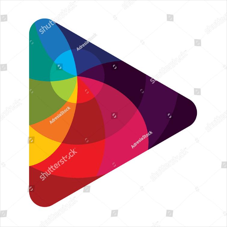 play button colorful logo design